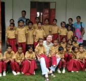 Richard with the first class of students from The Susan Hubbard School